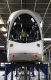 Tramway blanche de Lyon à l'atelier mécanique Photo stock