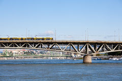 tramway on a bridge in budapest Royalty Free Stock Photography