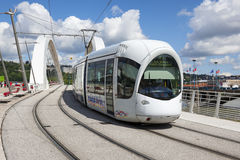 Tramway on a bridge Royalty Free Stock Photography