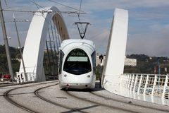 Tramway on a bridge near Confluence in Lyon Stock Photos