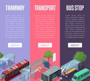 Tramway and bus station isometric 3D posters. Tramway and bus waiting station isometric 3D posters. Urban and countryside traffic vector illustration. City Stock Photo