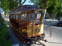 Tramway car at Sintra, Portugal. Tram car at SIntra, on the line that connects Sintra to Praia das Macas, Portugal. THis is an historical tramway, restored in Royalty Free Stock Photo
