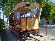 Tramway car at Sintra, Portugal. Tram car at SIntra, on the line that connects Sintra to Praia das Macas, Portugal. THis is an historical tramway, restored in Stock Images