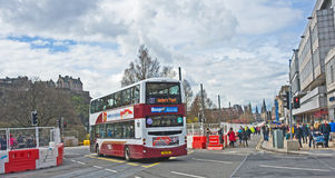 Tramway causes disruption to traffic. Installing  tramlines is causing severe  disruption to traffic which normally flows along Princes Street,  Edinburgh Royalty Free Stock Image