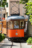 The tramway connecting the town to Soller. PORT DE SOLLER, SPAIN, JULY 17: The tramway connecting the town to Soller opened in 1913 and is about 5 km long. Some Royalty Free Stock Photo