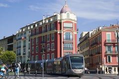 Tramway dans la ville de Nice Photos stock
