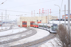 Tramway depot in winter. RUSSIA, MOSCOW - FEBRUARY 20, 2015: tramway depot in winter Royalty Free Stock Photography