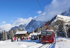 Tramway du Mont Blanc. Col de Voza, France - December 30,2014: TheTramway du Mont Blanc reaches the railway station on Col de Voza on 30 December 2014. This is Stock Image