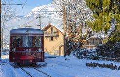 Tramway du Mont Blanc. Saint-Gervais, France - December 30,2014: TheTramway du Mont Blanc reaches the railway station in Saint Gervais on 30 December 2014. This Stock Photos