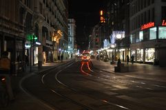 Tramway in a european city royalty free stock photo
