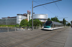 Tramway in European Parliamant distric of Strasbourg Stock Photos