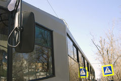 Tramway front glass window stock photo