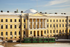 Tramway in front of Helsinki University Museum Stock Images
