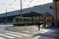 The tramway in Rome. Tramway in front of the `Termini` station in Rome, Italy Stock Image