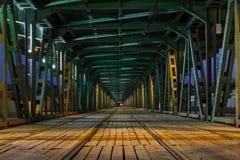 Tramway  in the Gdanski Bridge in Warsaw Stock Photo