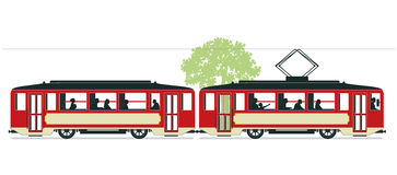 Tramway illustration. A tramway illustration with a tram with an overhead pantograph Royalty Free Stock Images