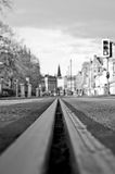 A tramway line on Princes Street in Edinburgh. EDINBURGH, SCOTLAND: A tramway line with a view on Princes Street in Edinburgh, Scotland. A tram network operated Royalty Free Stock Photography