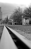 A tramway line on Princes Street in Edinburgh. EDINBURGH, SCOTLAND: A tramway line with a view on Princes Street in Edinburgh, Scotland. A tram network operated Royalty Free Stock Photos