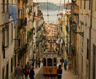Tramway in Lisbon Portugal stock photography