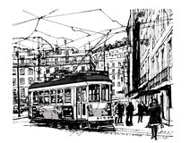 Tramway in lisbon. Vector illustration Royalty Free Stock Photography