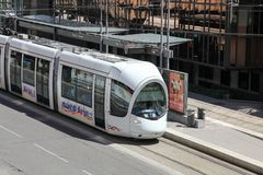 Tramway in Lyon, France. Lyon, France - July 28, 2015: Tramway at Part Dieu station in Lyon, France Royalty Free Stock Image