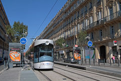 Tramway in Marseilles. MARSEILLE, FRANCE, OCTOBER 2, 2014 : Tramway in Marseilles city center. Marseilles is the 3rd-largest metropolitan area in France, and Royalty Free Stock Photos