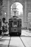 Tramway Milan. Tram in front with Arch of Peace and the Castle in the background, Milan Royalty Free Stock Images