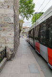 Tramway in motion blur on the street Stock Photography