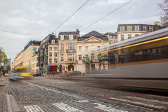 Tramway in motion on the street of Brussels near The Sablon Royalty Free Stock Photography
