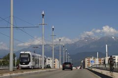 Tramway and mountains Royalty Free Stock Images