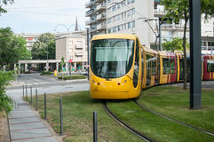 Tramway near train station in Mulhouse. MULHOUSE - France - 17 June 2017 - Tramway near train station in Mulhouse Royalty Free Stock Photo