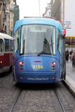 Tramway of new model on the street in Prague Royalty Free Stock Image