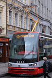 Tramway of new model on the street in Prague Royalty Free Stock Photos