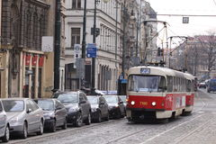 Tramway of old model on the street in Prague Royalty Free Stock Photo