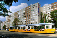 Tramway outside apartment building, Budapest, Hungary. Tramway outside modern apartment buildings in Budapest, Hungary on sunny day Stock Photography