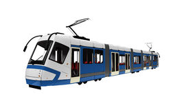 Tramway over white. Isolated long tramway on a white background Stock Photo
