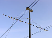 Tramway overhead cables. Detail  of tramway overhead power cables Stock Photos