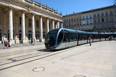 Tramway passing in front of ancient theater Royalty Free Stock Photo