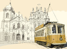 Tramway in Porto. Vector illustration of a typical tramway in front of the church Carmo in Porto - Portugal Stock Photos