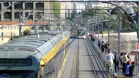 Tramway in Porto on Dom Luis I bridge stock footage