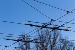 Tramway power line Stock Photo