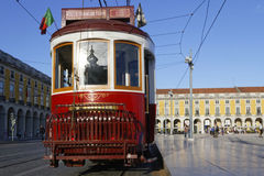 Tramway in Praca do Commercio. LISBON, Portugal, April 5, 2017 : Tramway in Praca do Commercio. The tramway network serves the capital city of Portugal since Royalty Free Stock Photo