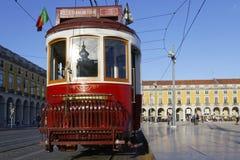 Tramway in Praca do Commercio Royalty Free Stock Photo