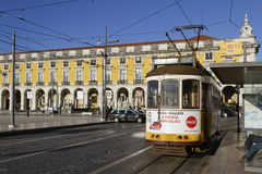 Tramway in Praca do Commercio. LISBON, Portugal, April 6, 2017 : Tramway in Praca do Commercio. The tramway network serves the capital city of Portugal since Stock Photos