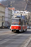 Tramway in Prague. Is going via the city Royalty Free Stock Images
