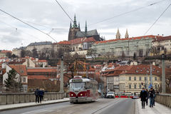 Tramway and Prague Castle Stock Photography