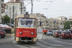 Tramway for public transportation in Kiev, Ukraine. Royalty Free Stock Images