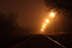 Tramway rails at night Royalty Free Stock Image