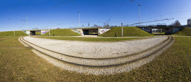 Tramway rails in side a big roundabout Stock Image