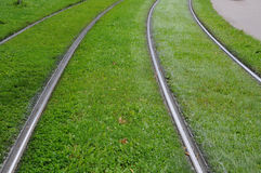 Tramway rails in Strasbourg in Alsace Royalty Free Stock Photo